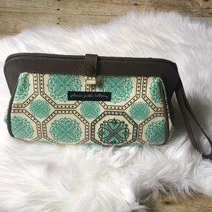Petunia Pickle Bottom Teal & Brown Clutch